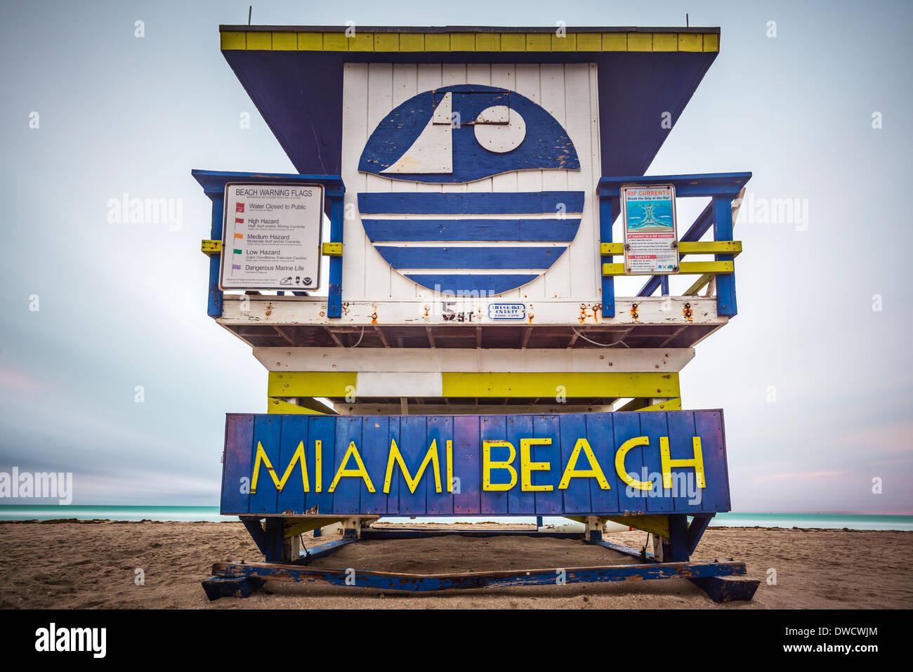 Miami Beach lifeguard tower. Stock Photo