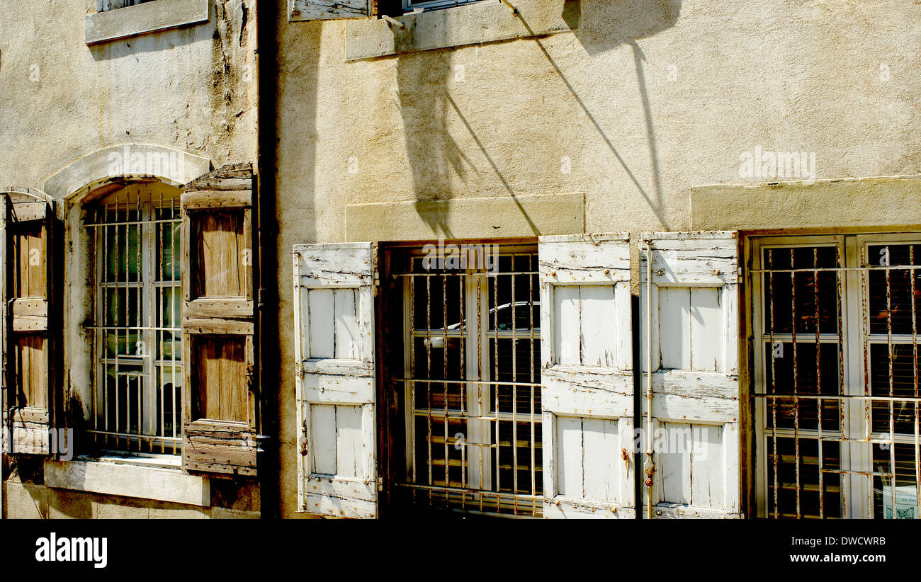 Old shop fronts in Rue Trivalle, Carcassonne, Languedoc-Roussillon, France - Stock Image