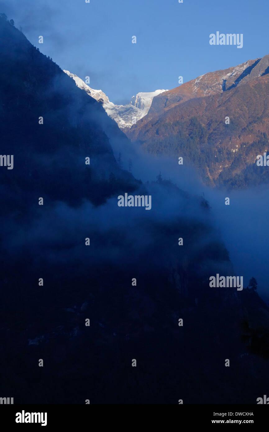 Manaslu Himal in the Gorkha region of Nepal. - Stock Image