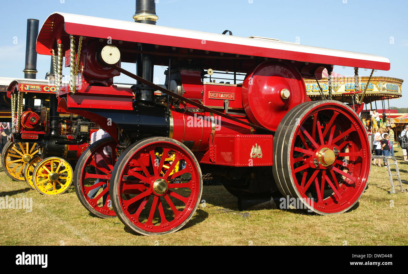 1909 Fowler coal fired steam traction engine 9009 Defiance at Bedford steam rally. Reconstructed from a wreak from Angola - Stock Image