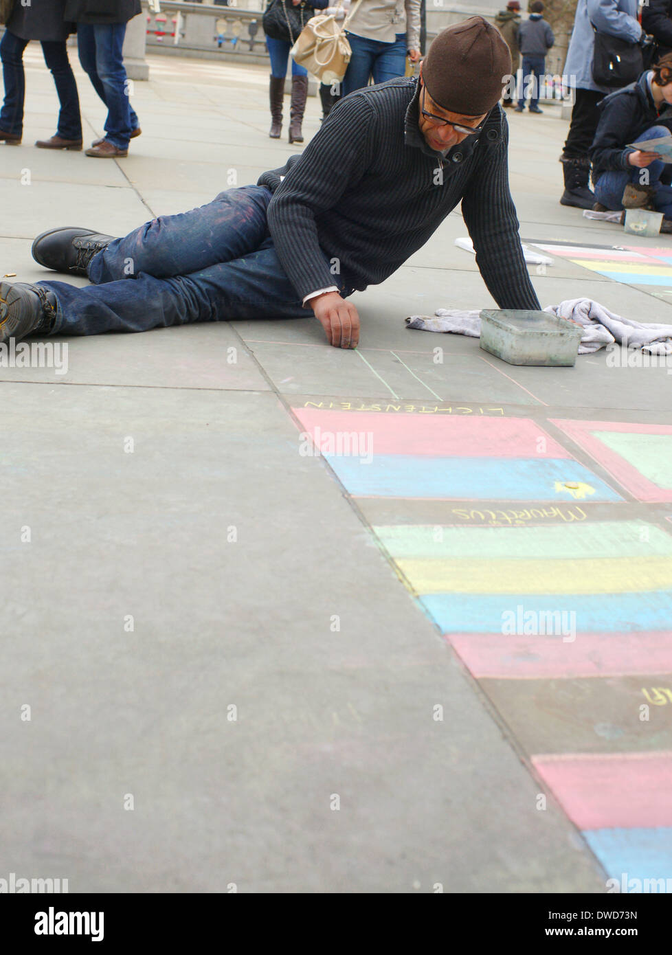 Trafalger Square flagman chalk drawing on pavement outside the National gallery - Stock Image