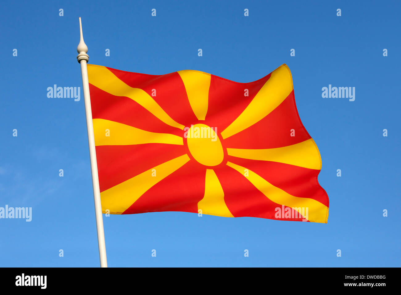 The national flag of the Republic of Macedonia. - Stock Image