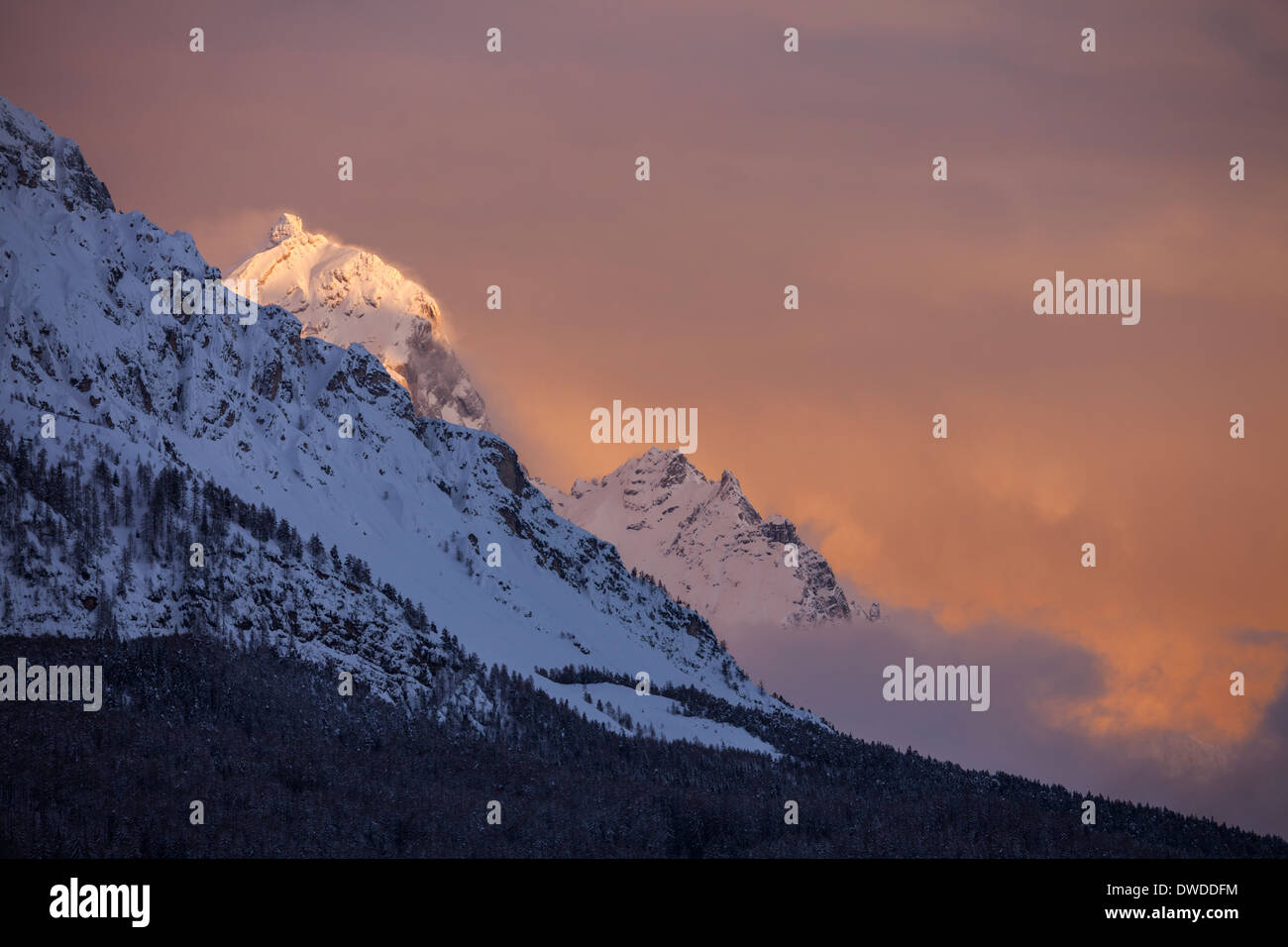 The last sun on mount Antelao in Cortina D'Ampezzo, Dolomiti, Italy. - Stock Image