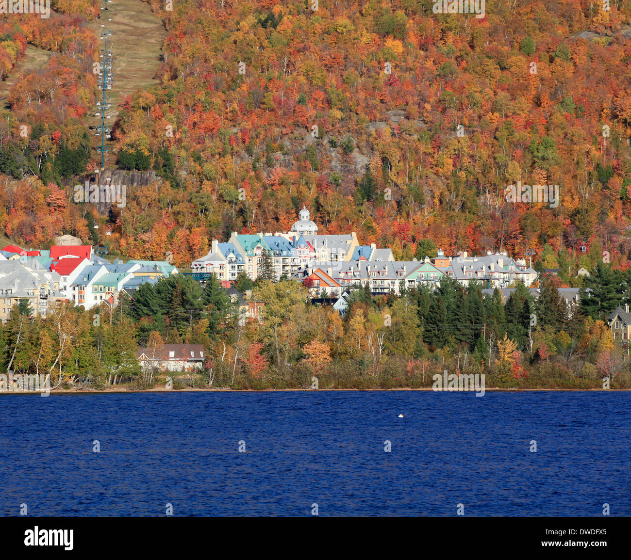 Mont Tremblant Lake and resort in autumn - Stock Image
