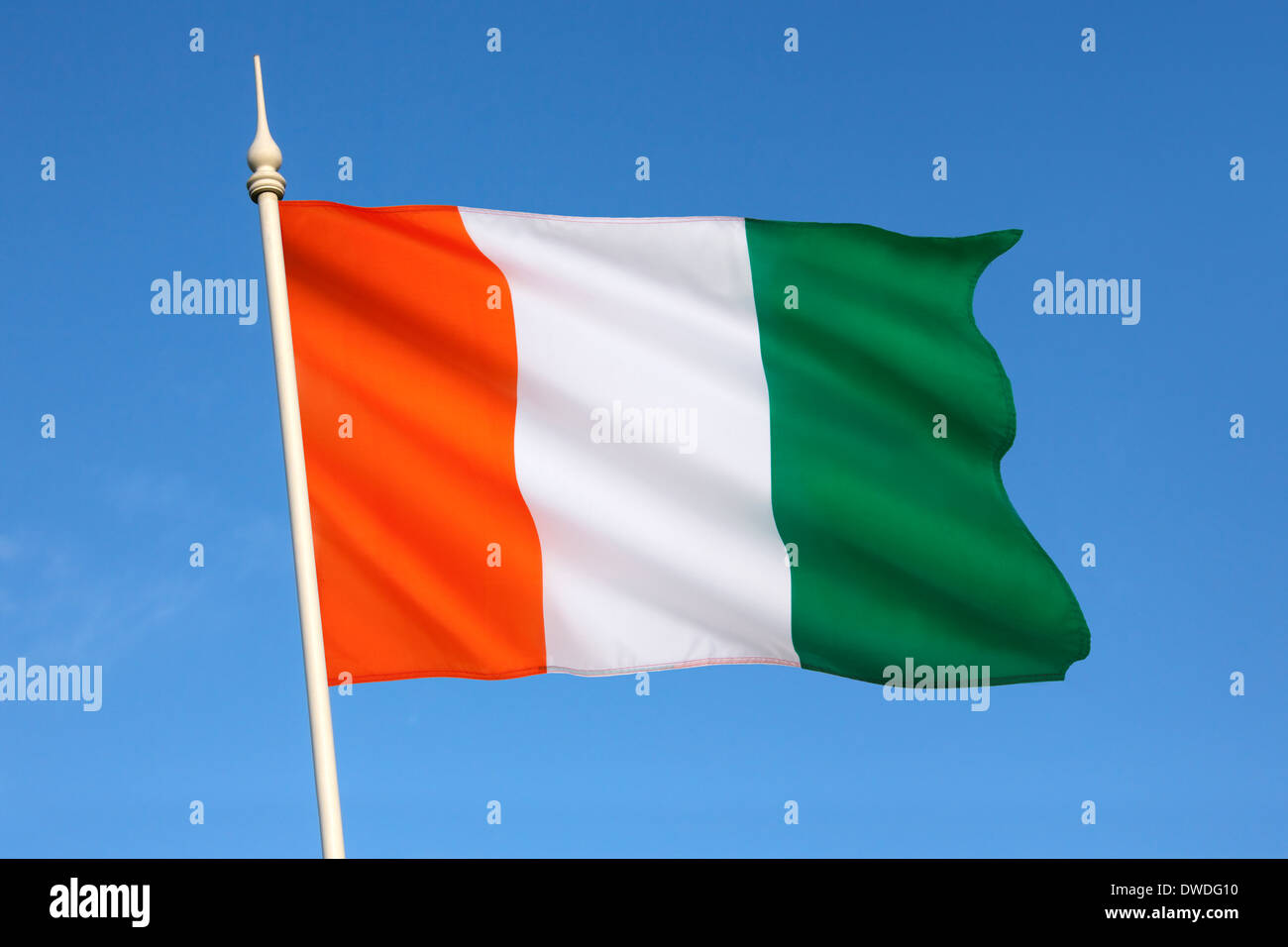 Flag of Ivory Coast or Cote d'Ivoire - Stock Image
