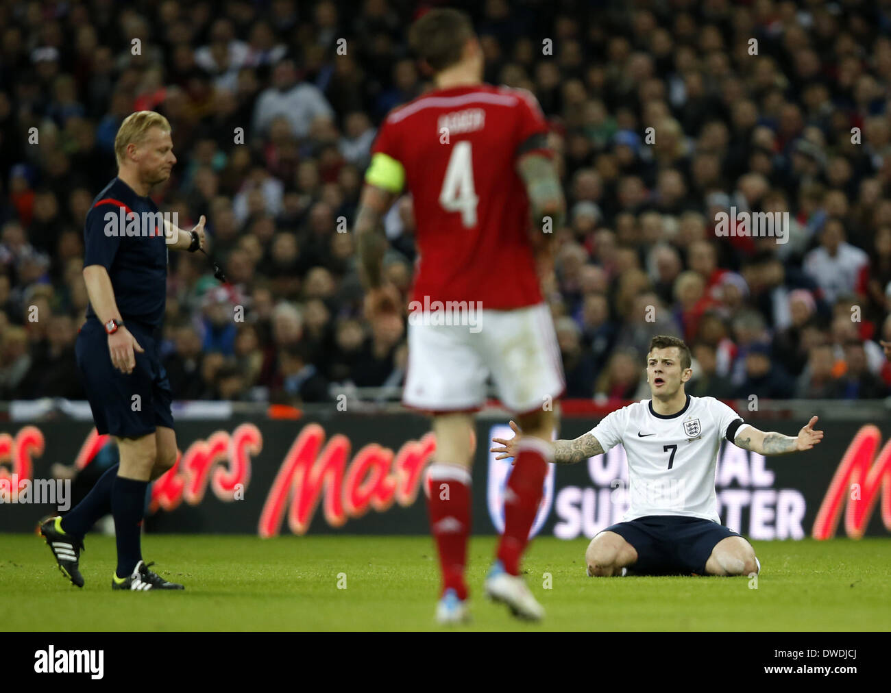 London, UK. 5th Mar, 2014. Jack Wilshere of England reacts during an international friendly soccer match between England and Denmark at Wembley Stadium in London, Britain on March 5, 2014. England won 1-0. Credit:  Wang Lili/Xinhua/Alamy Live News - Stock Image