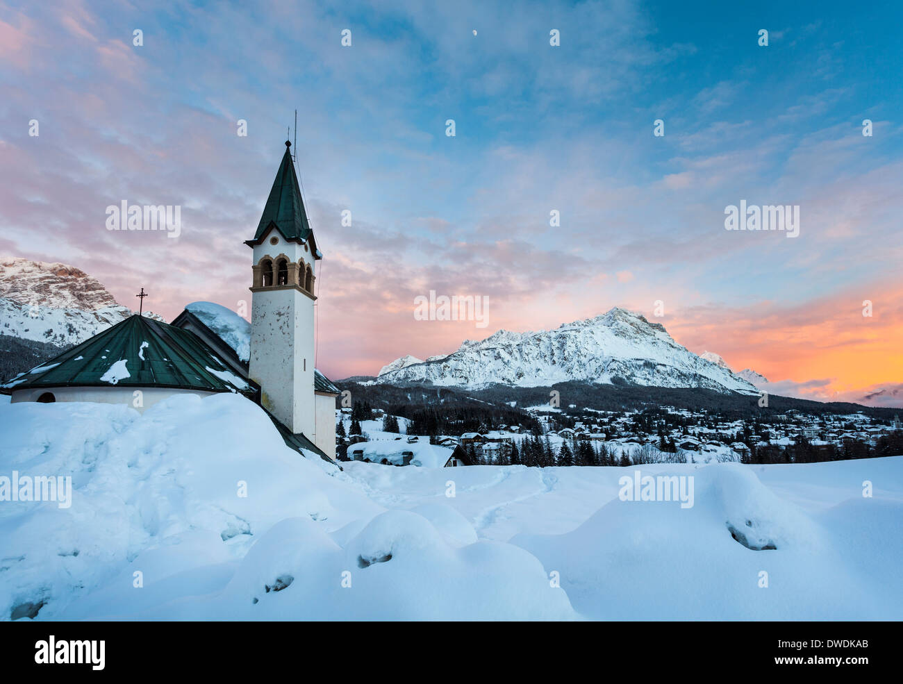 Cortina D'Ampezzo  to the sunset, after a snowfall - Stock Image