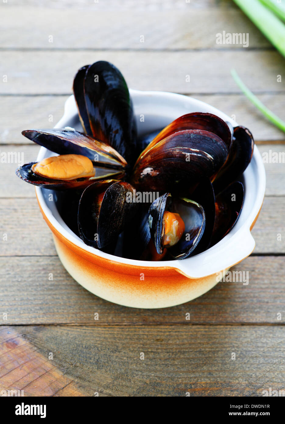 mussels cooked in a saucepan, food closeup Stock Photo