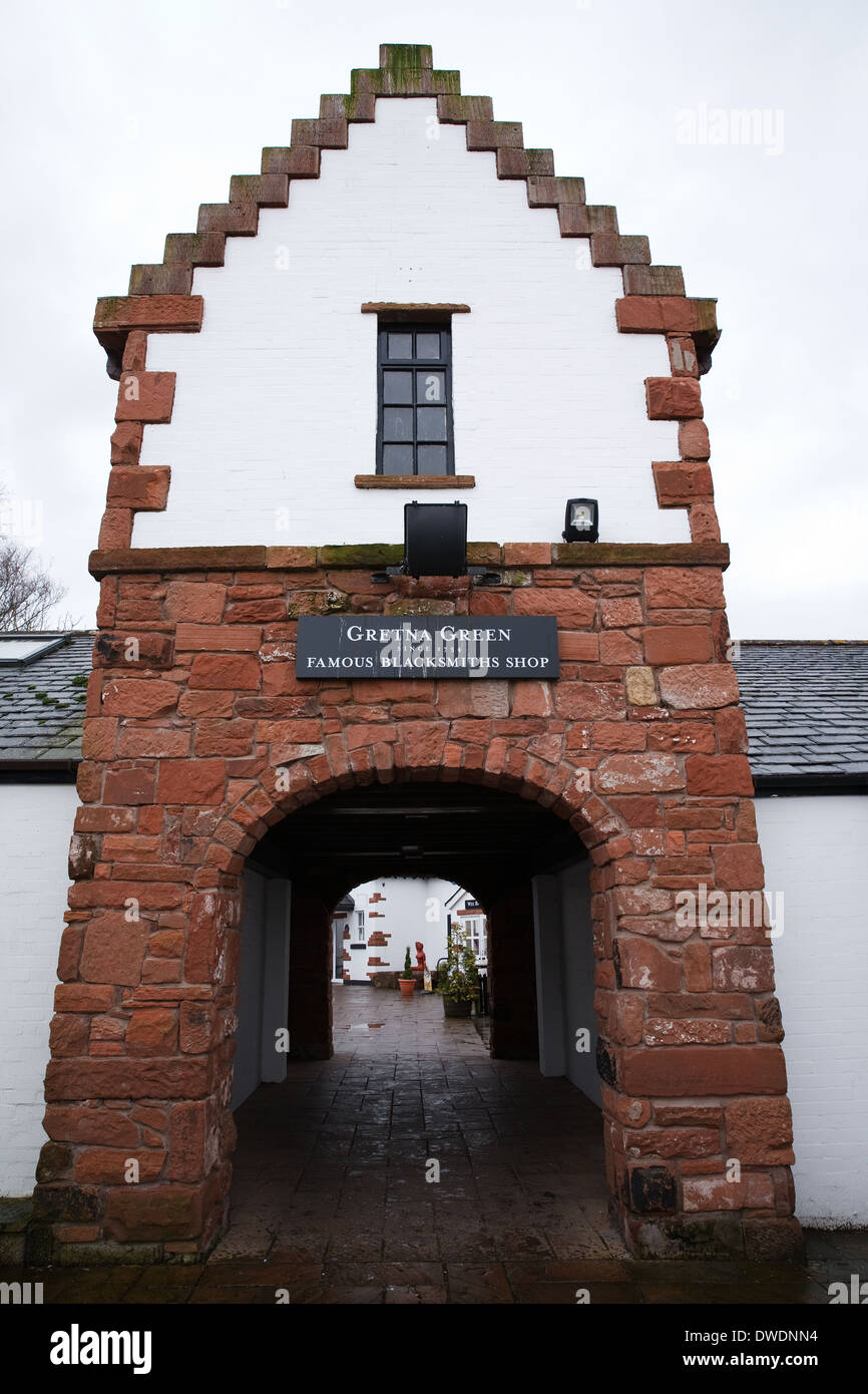 Gretna Green world famous Blacksmiths cottage which has been holding weddings since 1754 - Stock Image