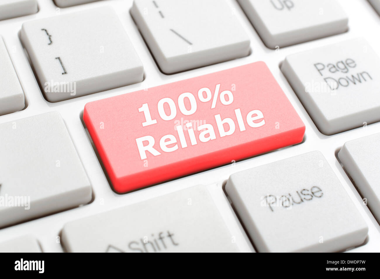 One hundred percent reliable on keyboard - Stock Image