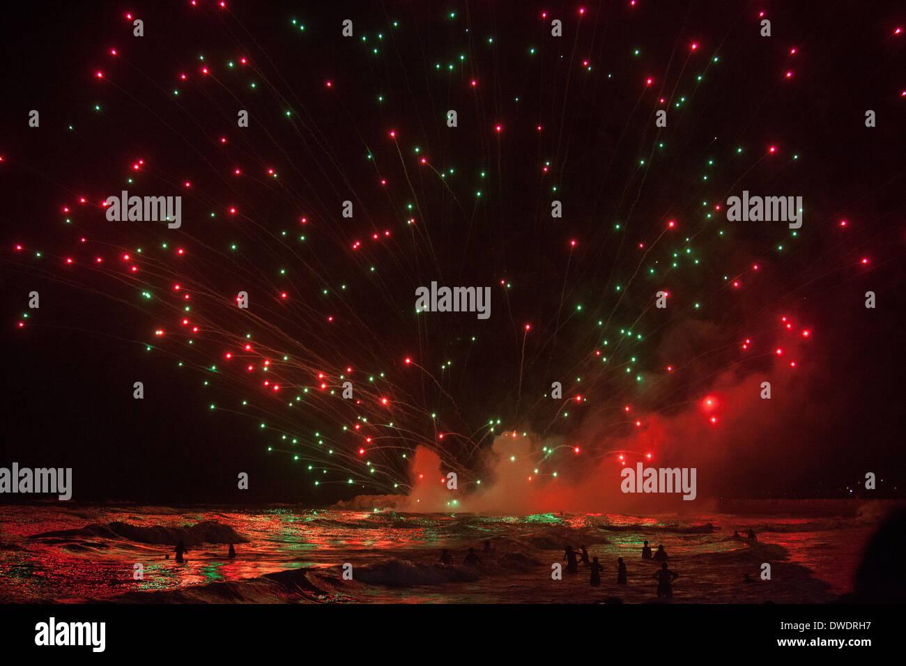 Fireworks in Fuengirola, Spain, at the celebration of Virgin Carmen in 2012. - Stock Image