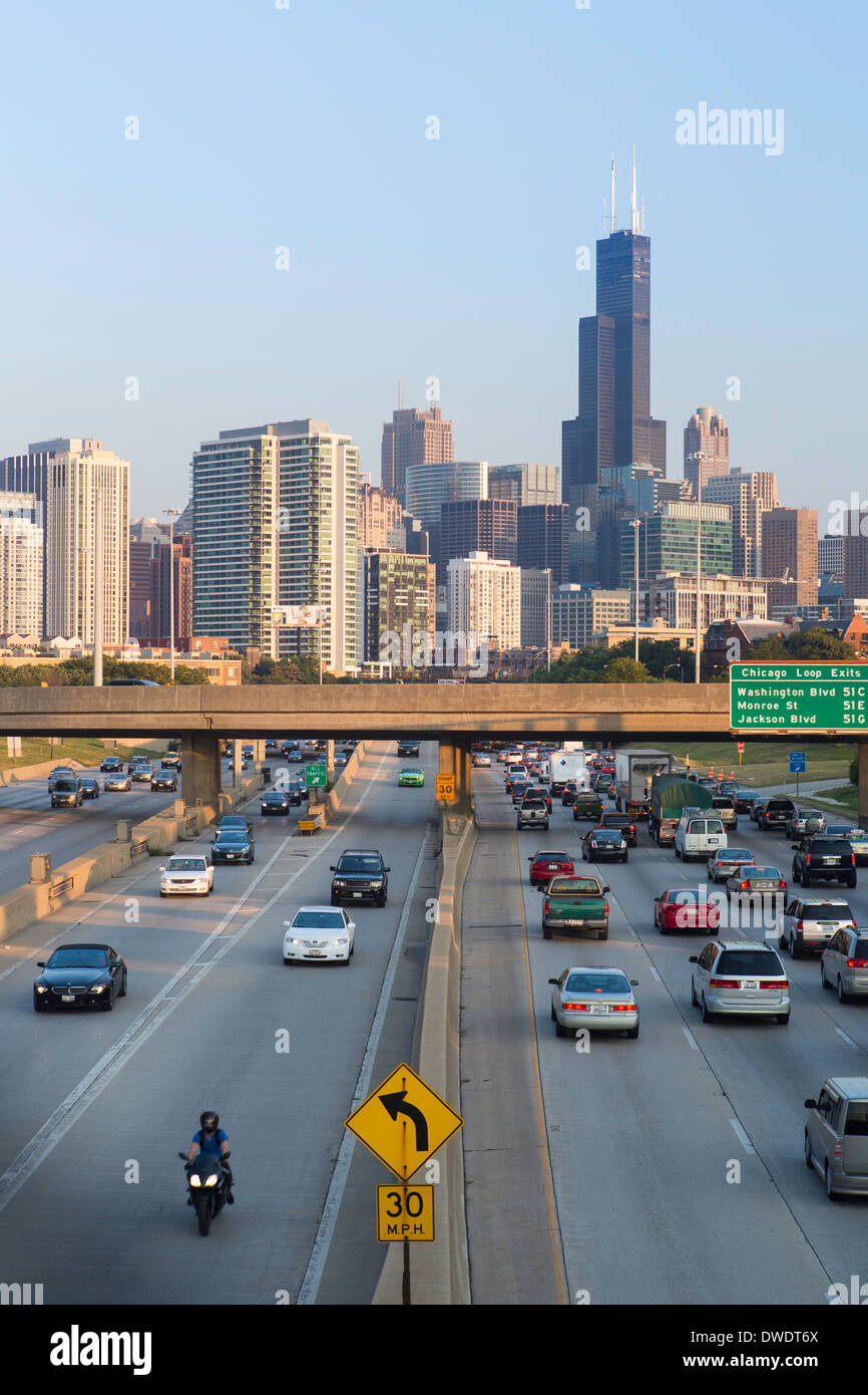 Chicago, Illinois, United States of America, Interstate leading Downtown - Stock Image