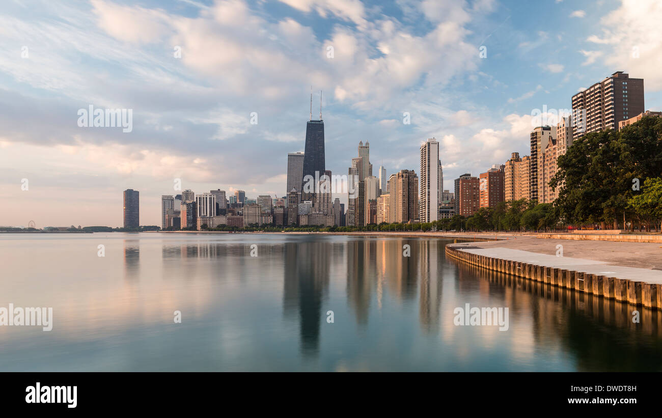 Chicago, Illinois, United States of America, city skyline and Lake Michigan Stock Photo