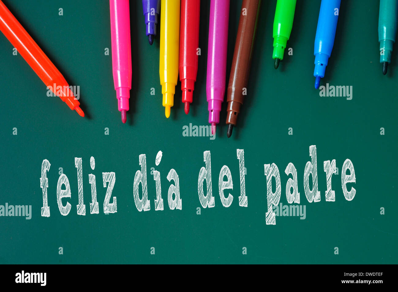 feliz dia del padre happy fathers day written in spanish in a stock