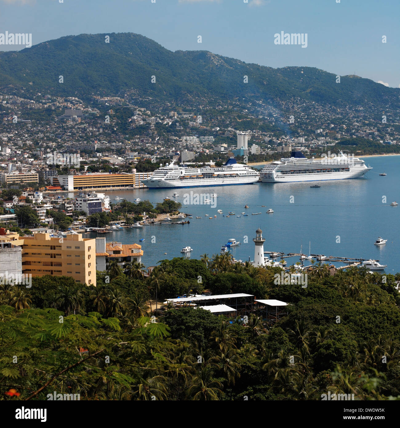 Cruise ships in Acapulco Bay on the Pacific coast of Mexico Stock Photo