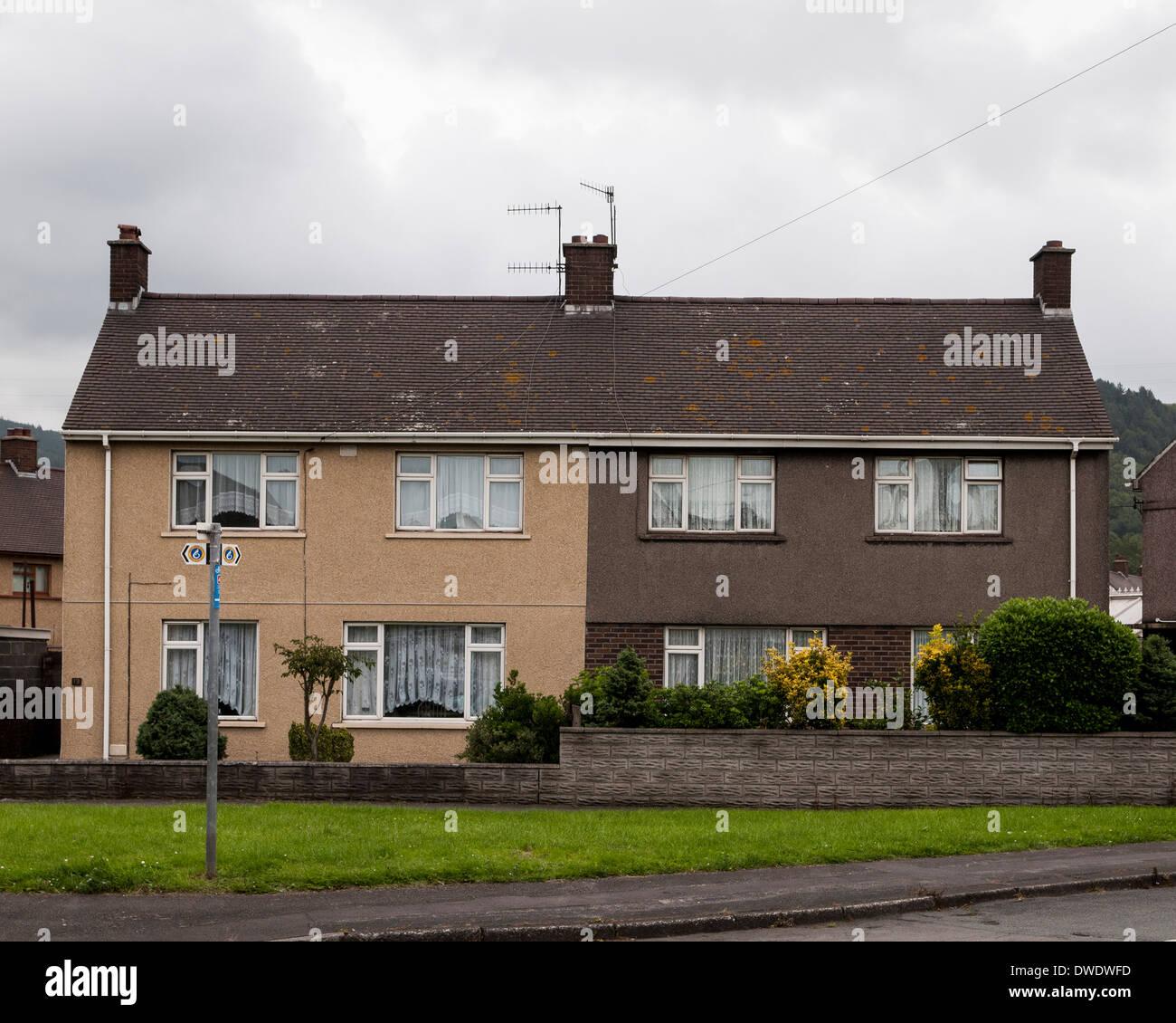 Port Talbot, Port Talbot, United Kingdom. Architect: Various, 2014. Semi-detached house. Stock Photo