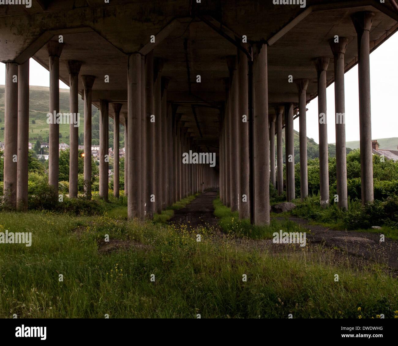 Port Talbot, Port Talbot, United Kingdom. Architect: Various, 2014. Underneath the M4. Stock Photo