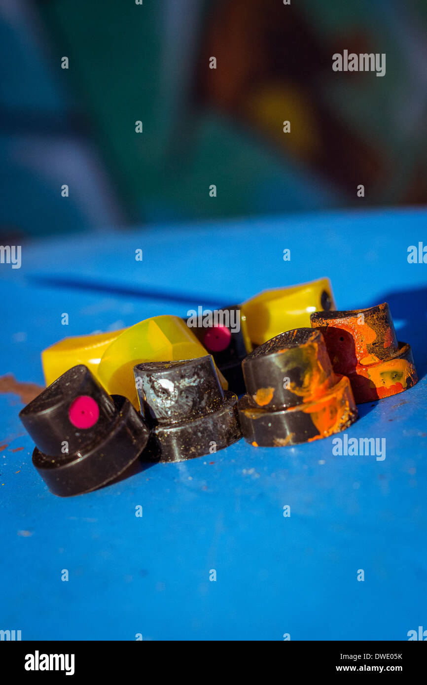 A small collection of discarded spray can nozzles. Stock Photo