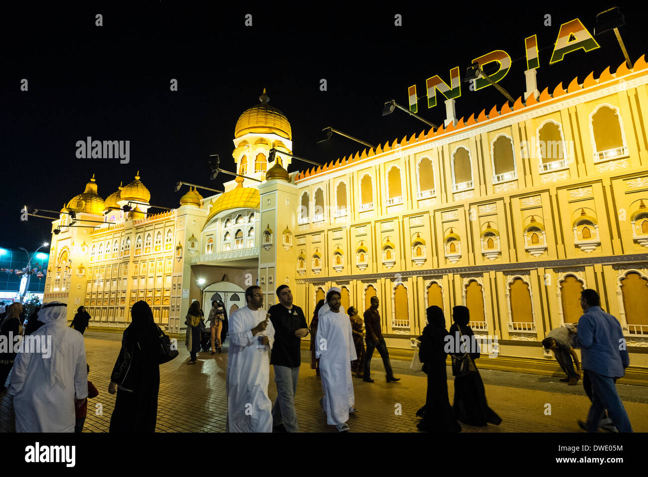 India Pavilion at Global Village tourist cultural attraction in Dubai United Arab Emirates - Stock Image