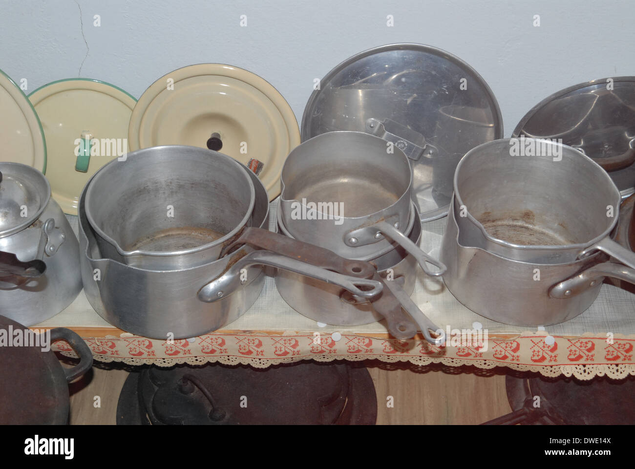 Pots and pans. - Stock Image