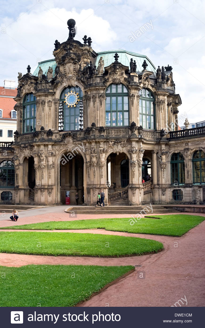 Bell Chime and entrance to the Procellain Collection at the Zwinger in Dresden, Saxony, Germany. Stock Photo