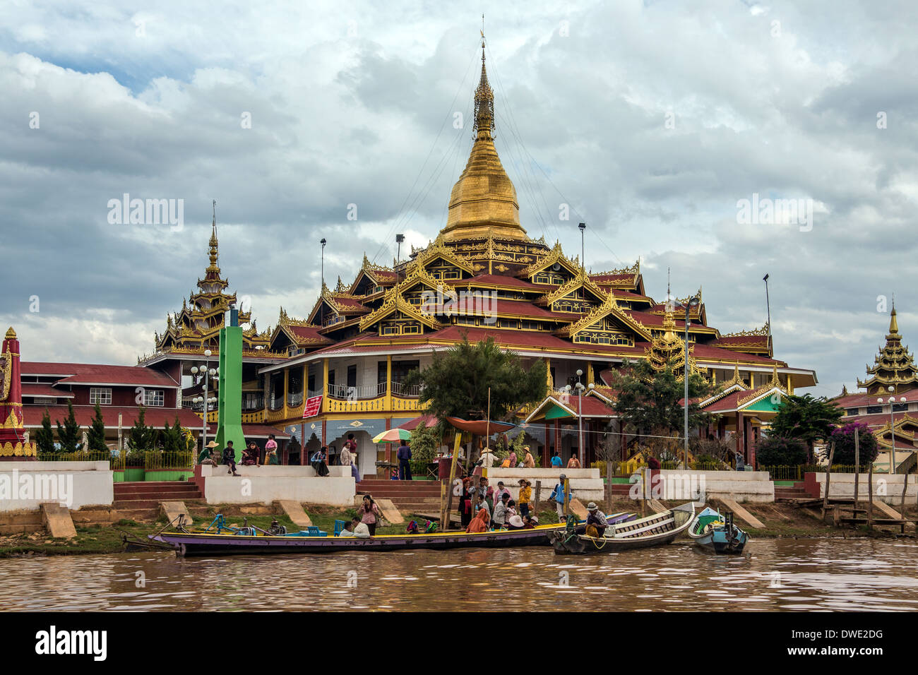 Phaung Dow Oo Buddhist Temple on Inle Lake in Shan State in central Myanmar (Burma). - Stock Image