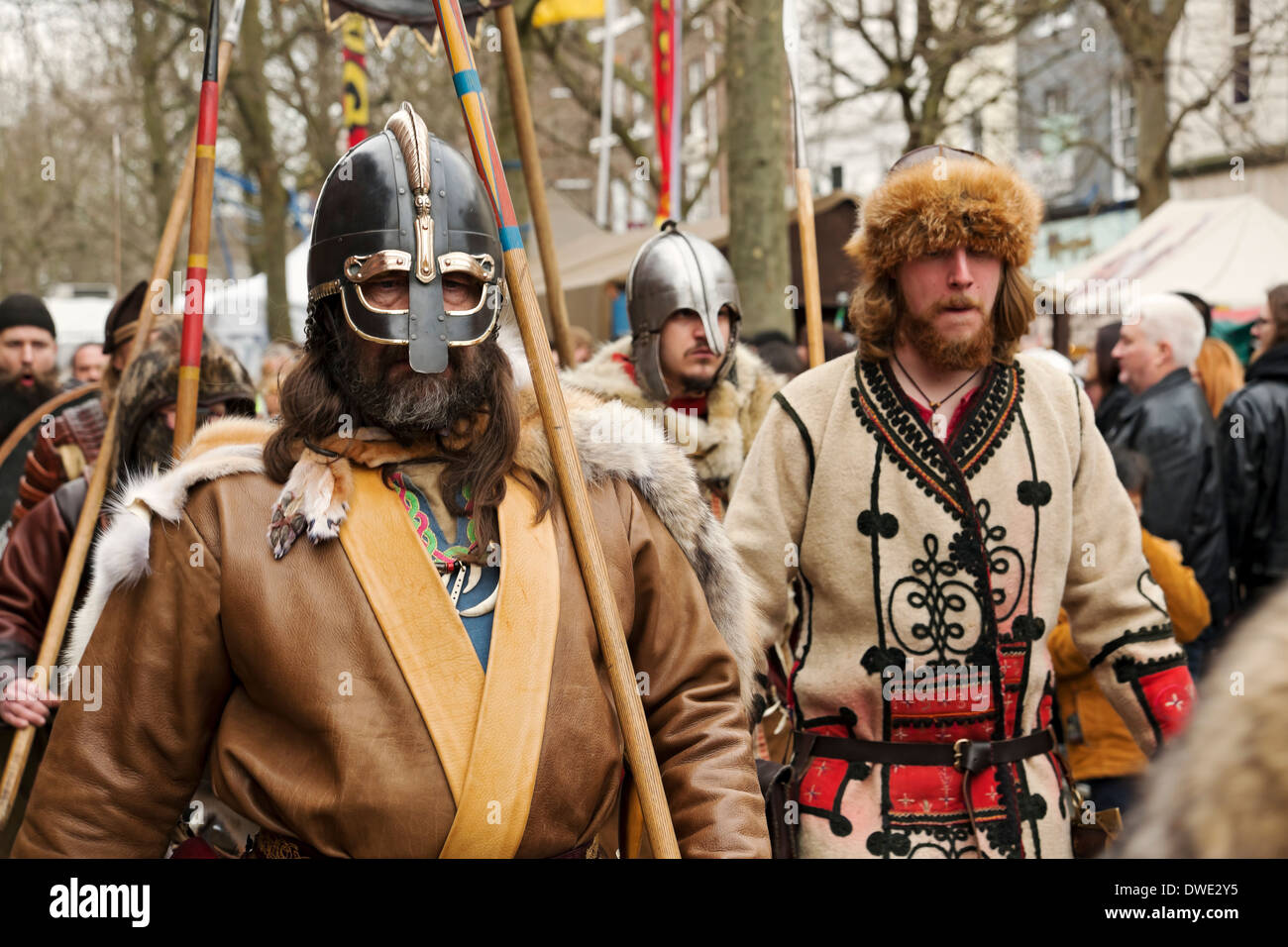 Procession through the streets during the Viking Festival York North Yorkshire England UK United Kingdom GB Great Britain - Stock Image