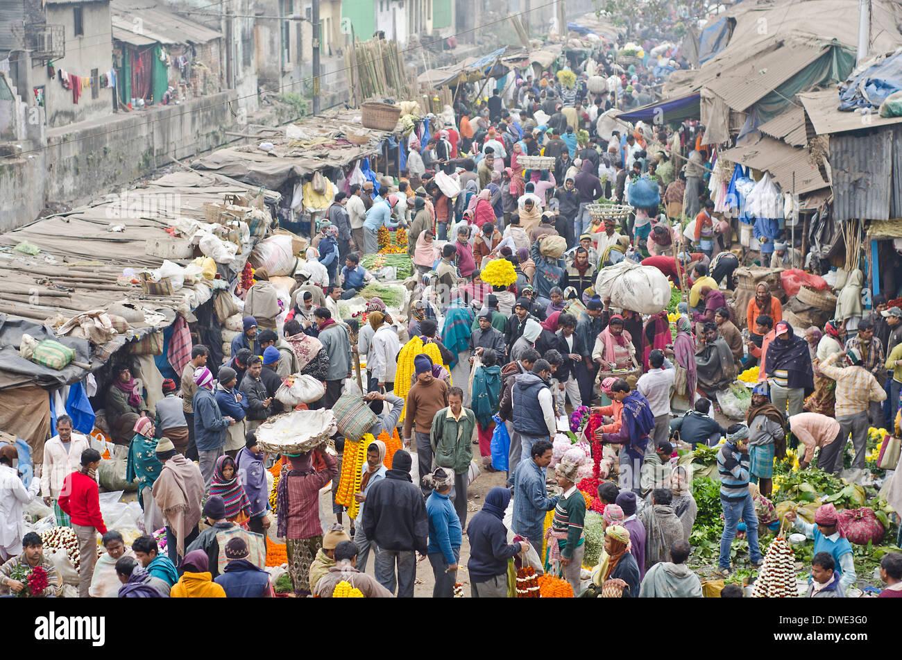 Flower market,Kolkata,India - Stock Image