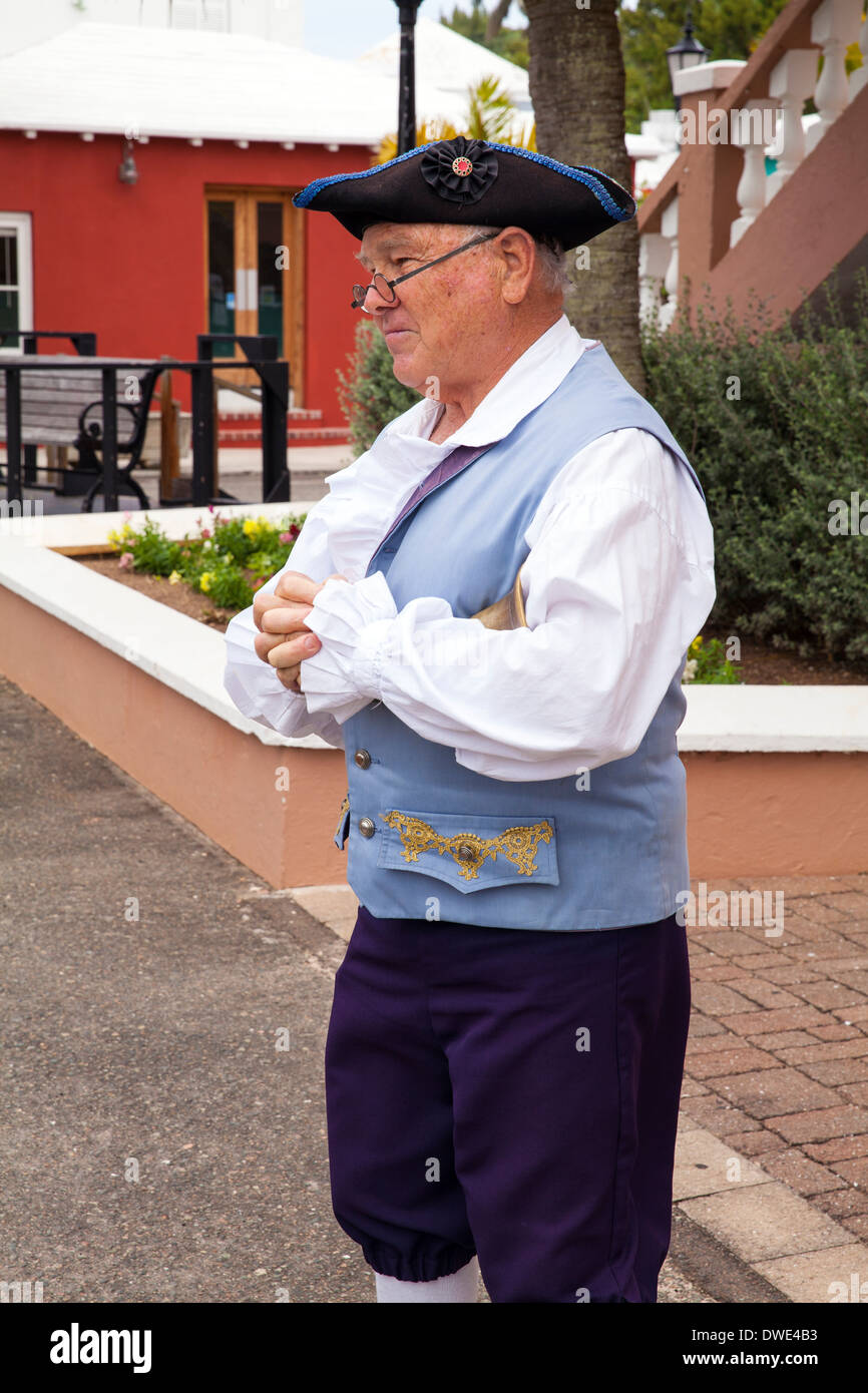 The Town Crier of St George, Bermuda dressed in historical costume - Stock Image