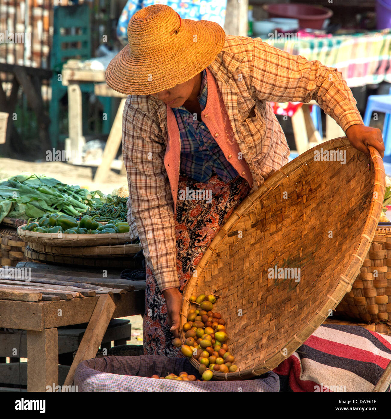 Everyday scene at a market in the ancient city of Bagan in Mayanmar (Burma). - Stock Image