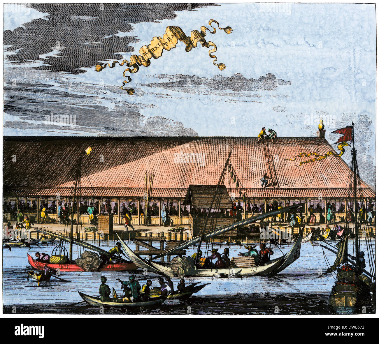 Market in Batavia (now Jakarta) in the 1600s, when Java was a Dutch colony. Hand-colored print - Stock Image