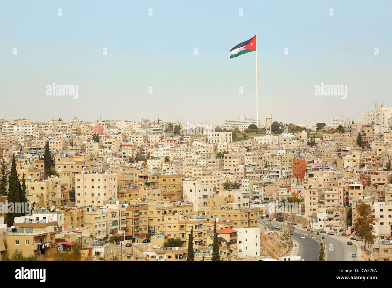 Amman city view with big Jordan flag and flagpole Stock Photo