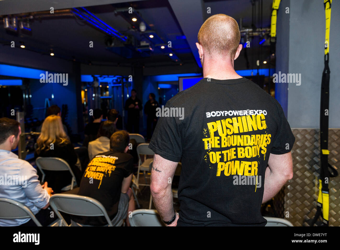 London, UK. Thursday 6th March. 2014:  BodyPower staff listening to a presentation at the launch of BodyPower Expo 2014   Photographer; Gordon Scammell/Alamy Live News. - Stock Image
