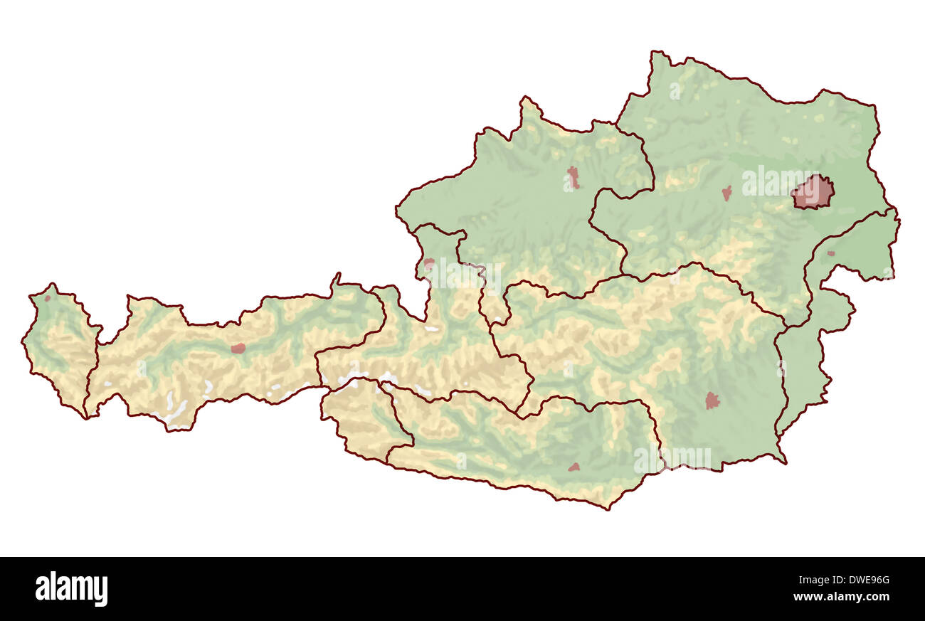Topographic map of Austria in Europe, which is not labeled. The ...