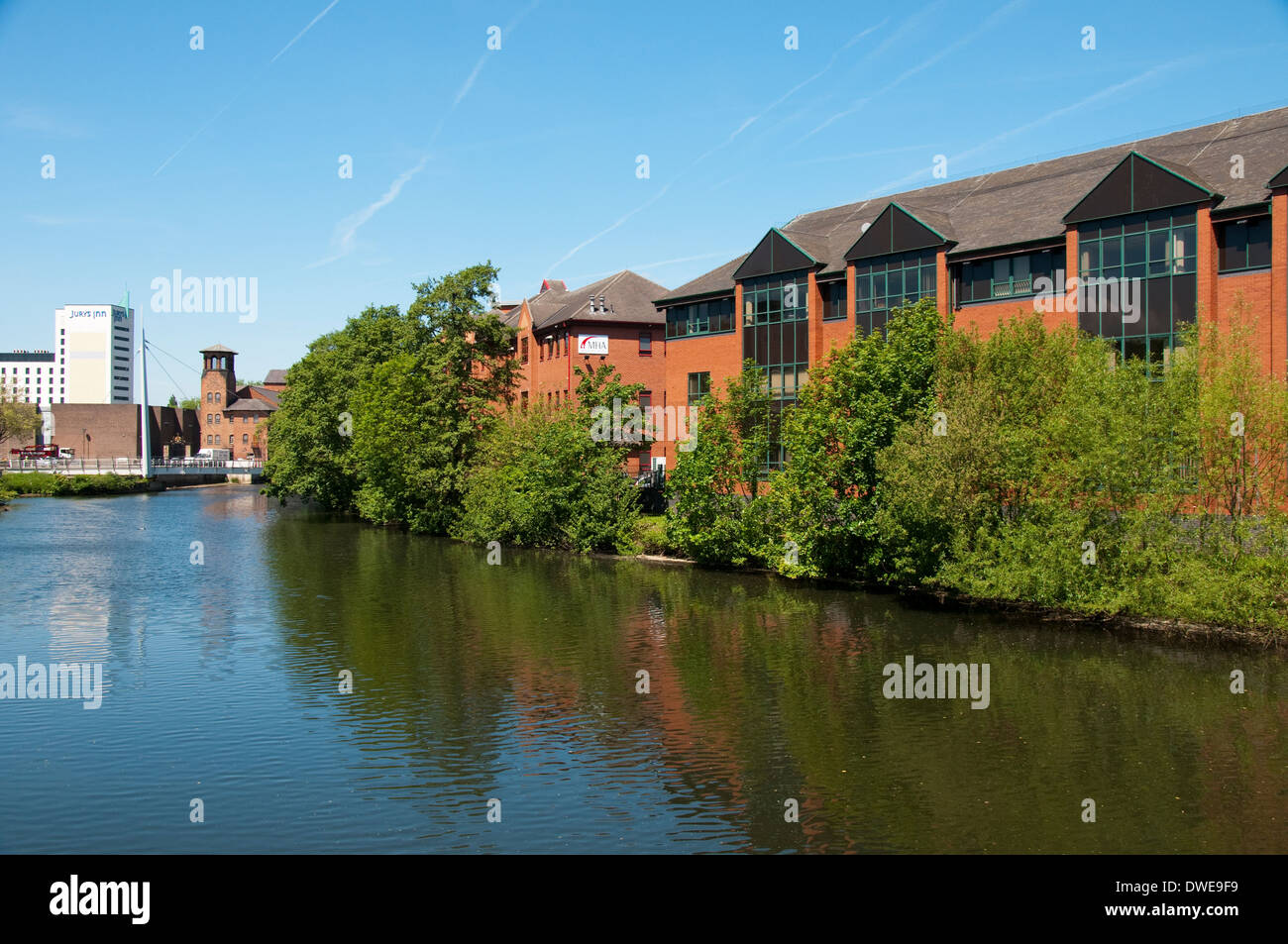 Apartment Buildings by the River Derwent in Derby City Centre, Derbyshire England UK - Stock Image