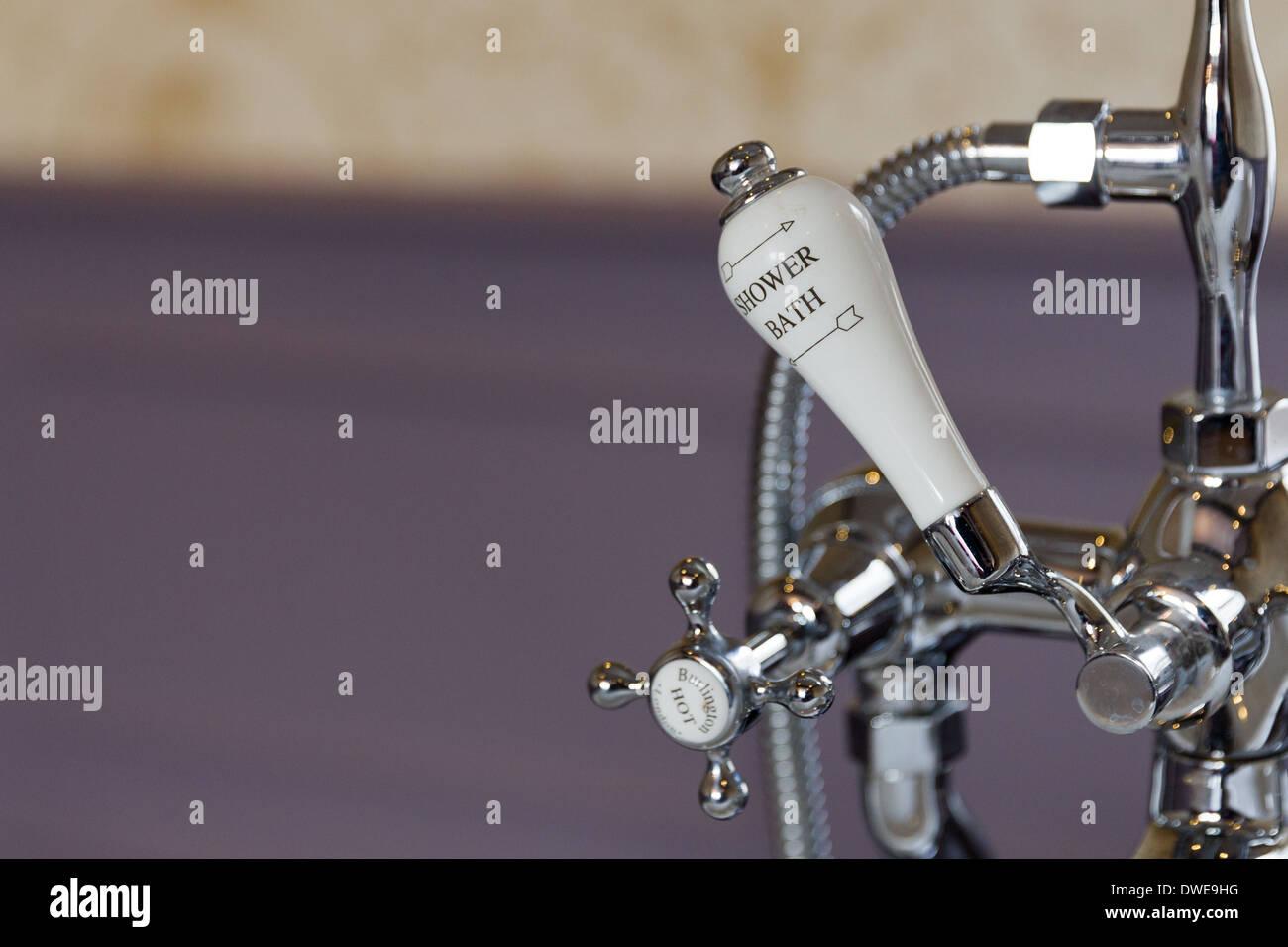 Shower bath controls taps - Stock Image