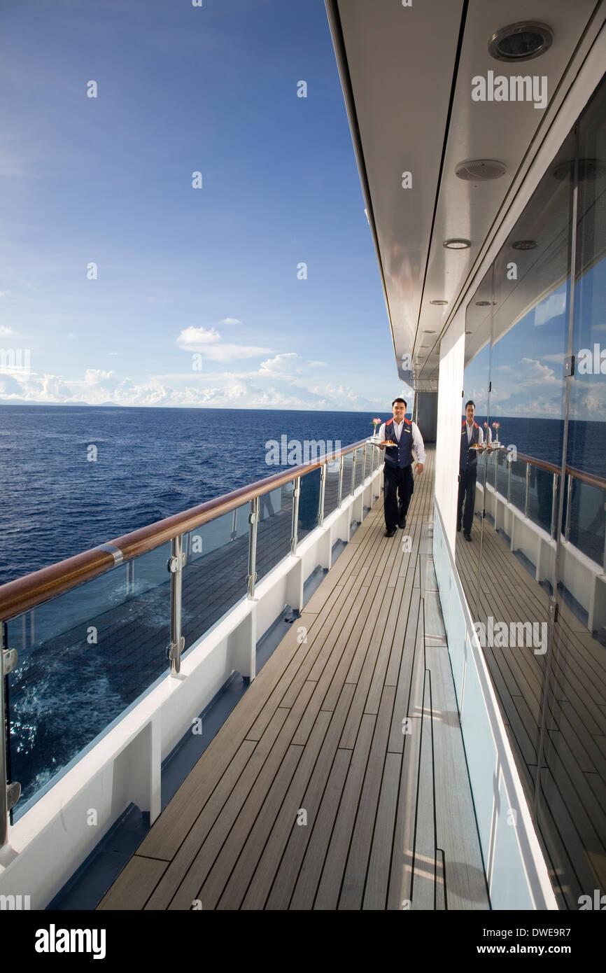 Cabin service delivery onboard the Aussie expedition cruiser Orion during their Melanesia & Solomon Islands voyage - Stock Image