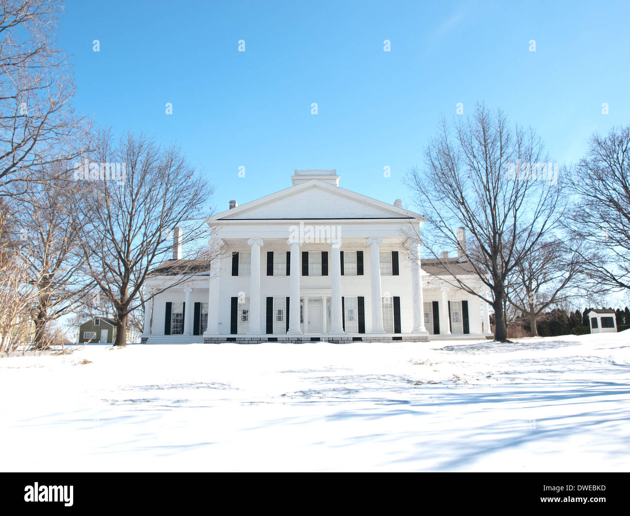 beautiful old manor house in the wintertime - Stock Image