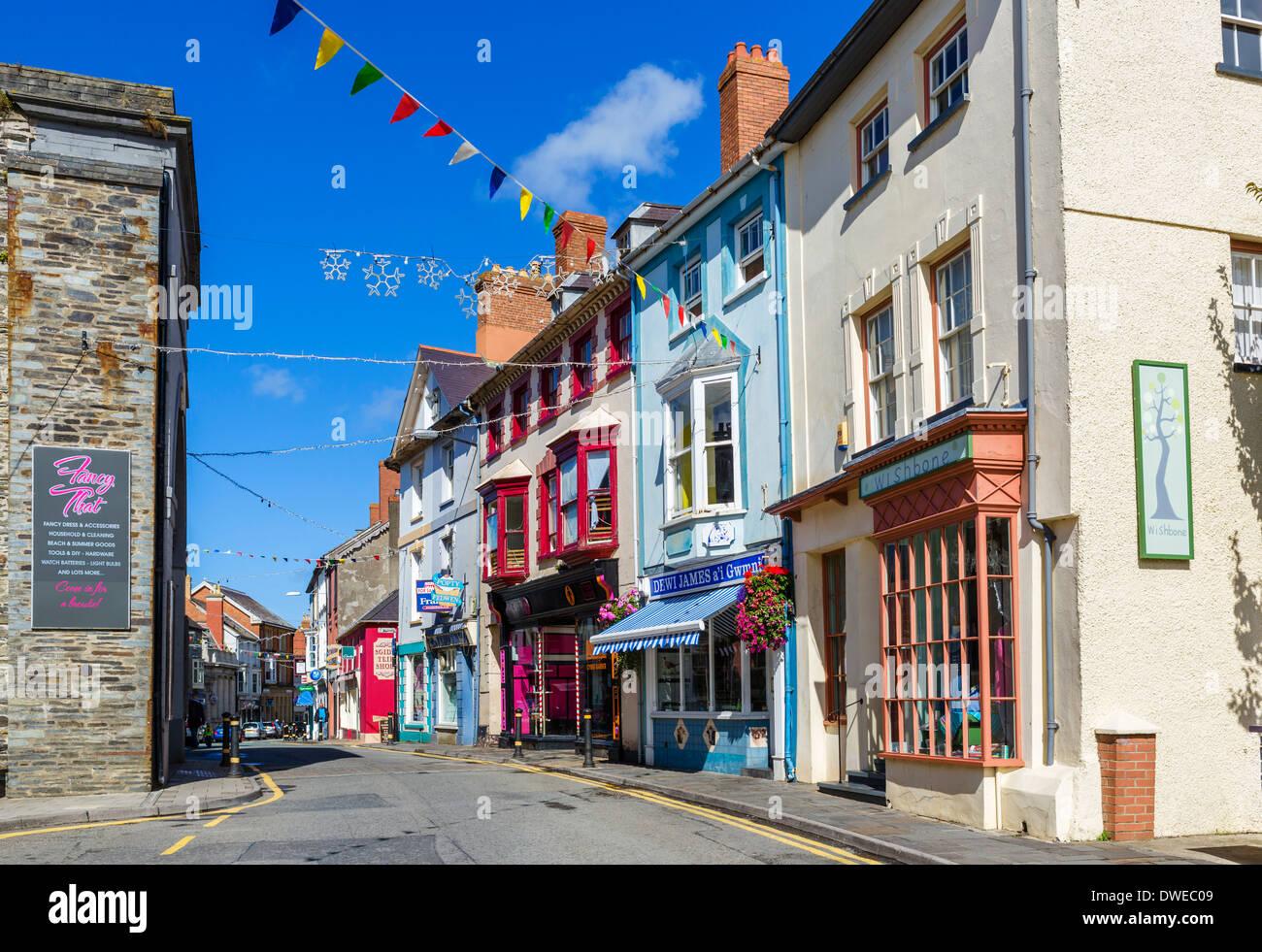 Shops on the High Street, Cardigan, Ceredigion, Wales, UK - Stock Image