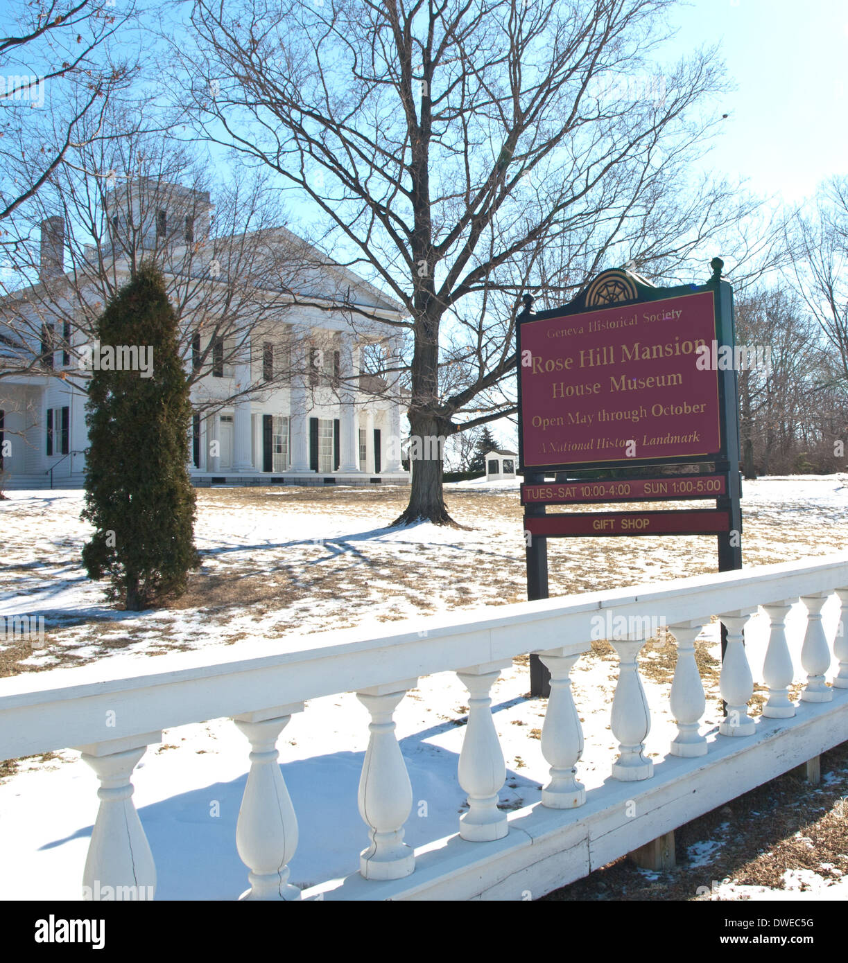 Geneva , New York, USA. March 6,2014. The beautiful Rose Hill l Mansion in wintertime - Stock Image