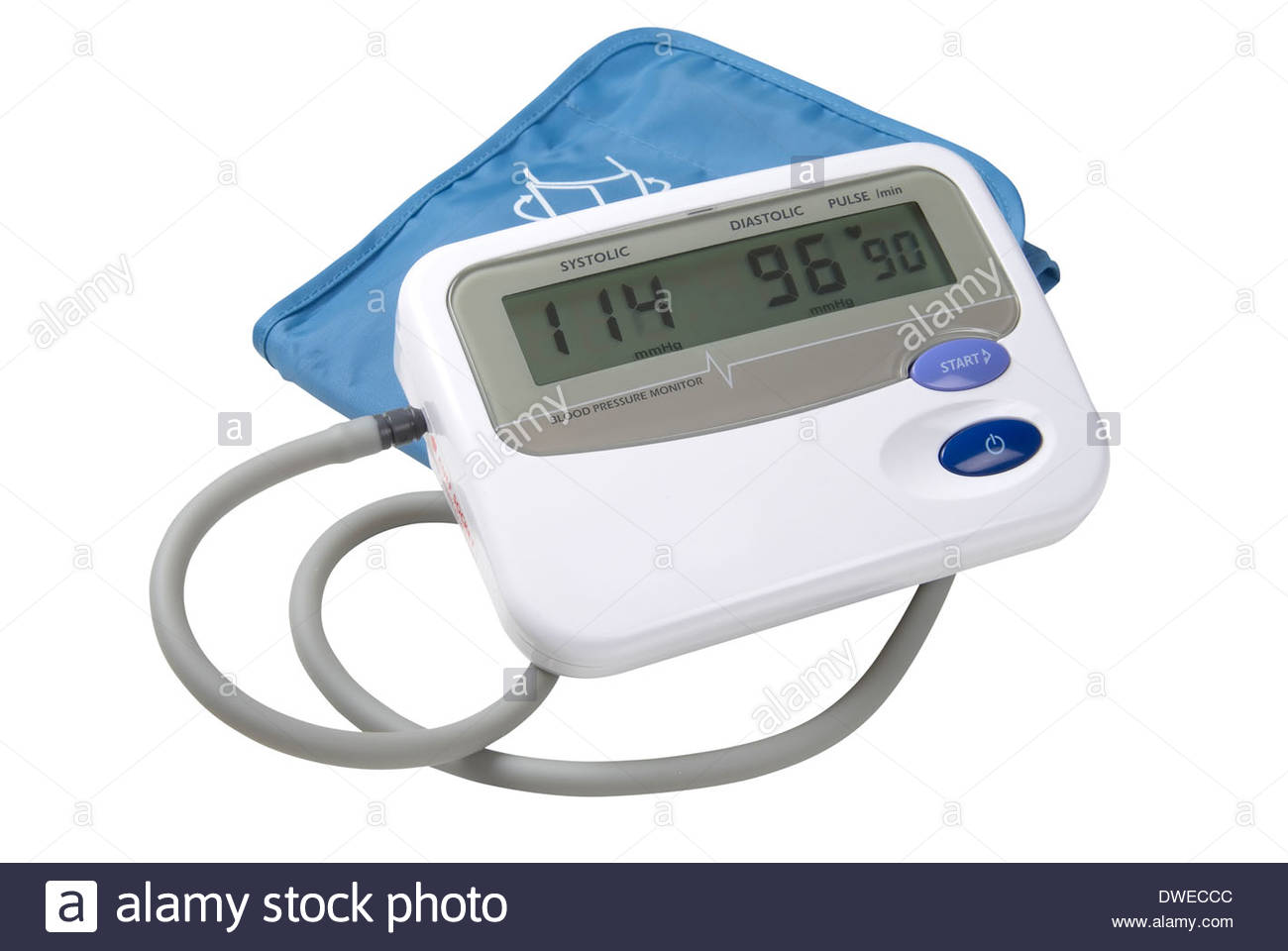 A blood pressure monitor isolated on white with path - Stock Image