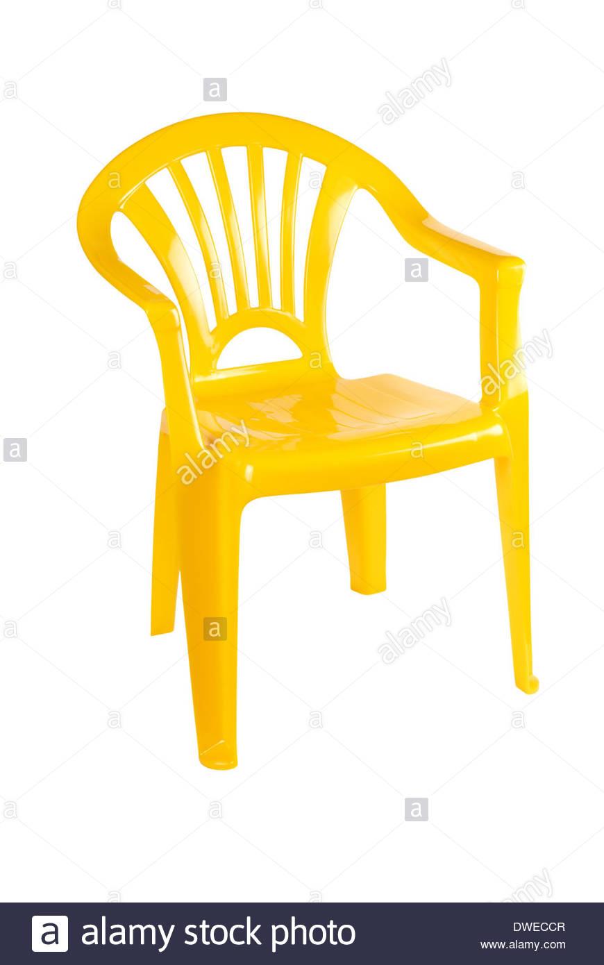Swell Bright Yellow Plastic Patio Chair Stock Photo 67314599 Alamy Machost Co Dining Chair Design Ideas Machostcouk