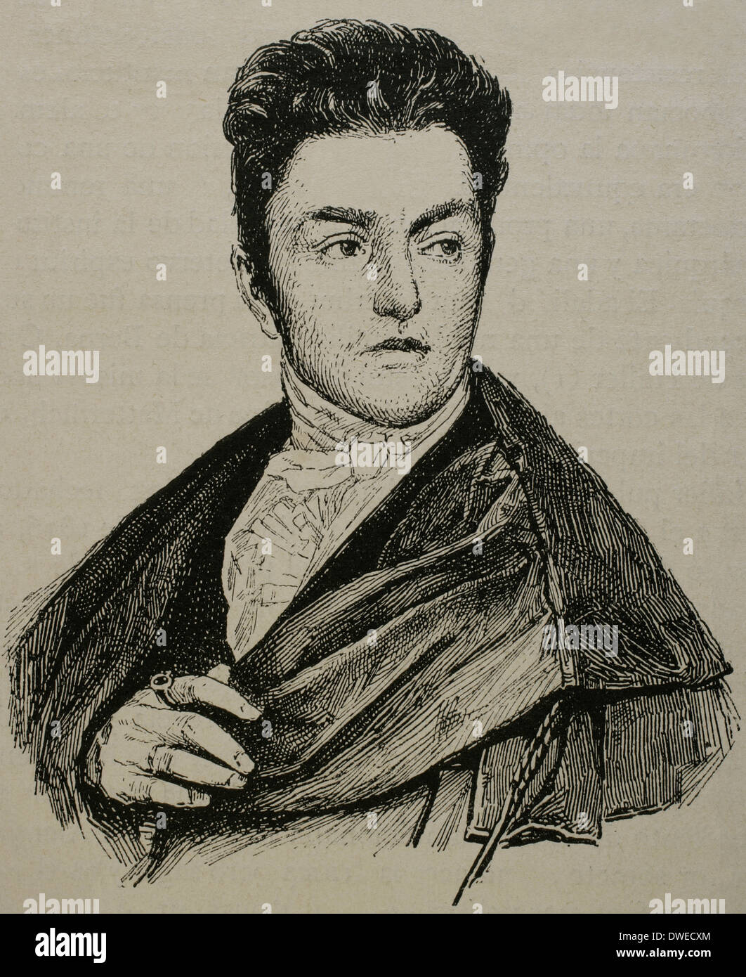 Maximilian Emanuel von Lerchenfeld (1778-1843). Germany. Engraving by Historia Universal, 1883. - Stock Image