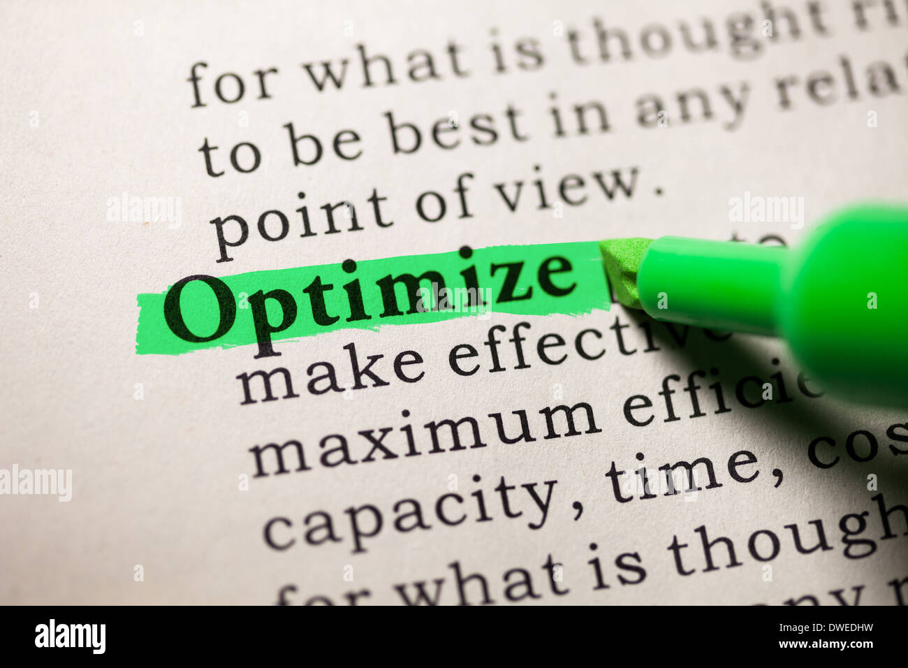 Fake Dictionary, Dictionary Definition Of The Word Optimize.
