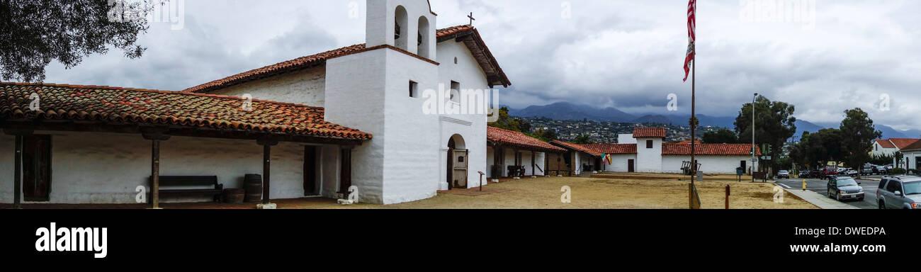 panoramic view of the Presidio church and historic Spanish military garrison in Santa Barbara; California; USA - Stock Image