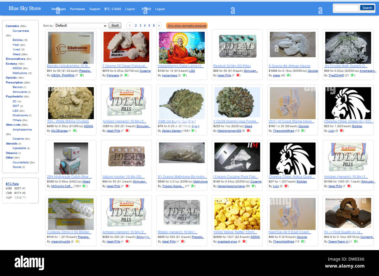 blue sky store online marketplace for illicit goods drugs stock photo 67315982 alamy. Black Bedroom Furniture Sets. Home Design Ideas