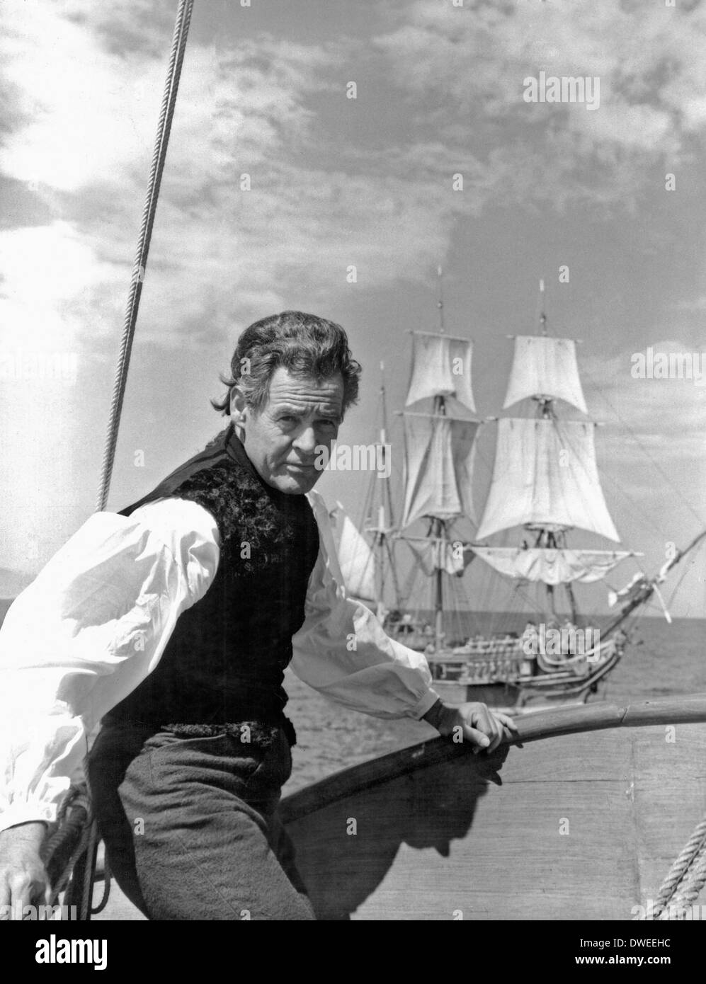 Robert Ryan, on-set of the Film, 'Billy Budd' directed by Peter Ustinov, 1962 - Stock Image