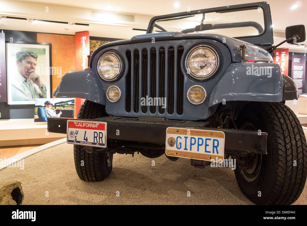 jeep of former US President Ronald Reagan displayed at Ronald Reagan Ranch Center museum in Santa Barbara California - Stock Image