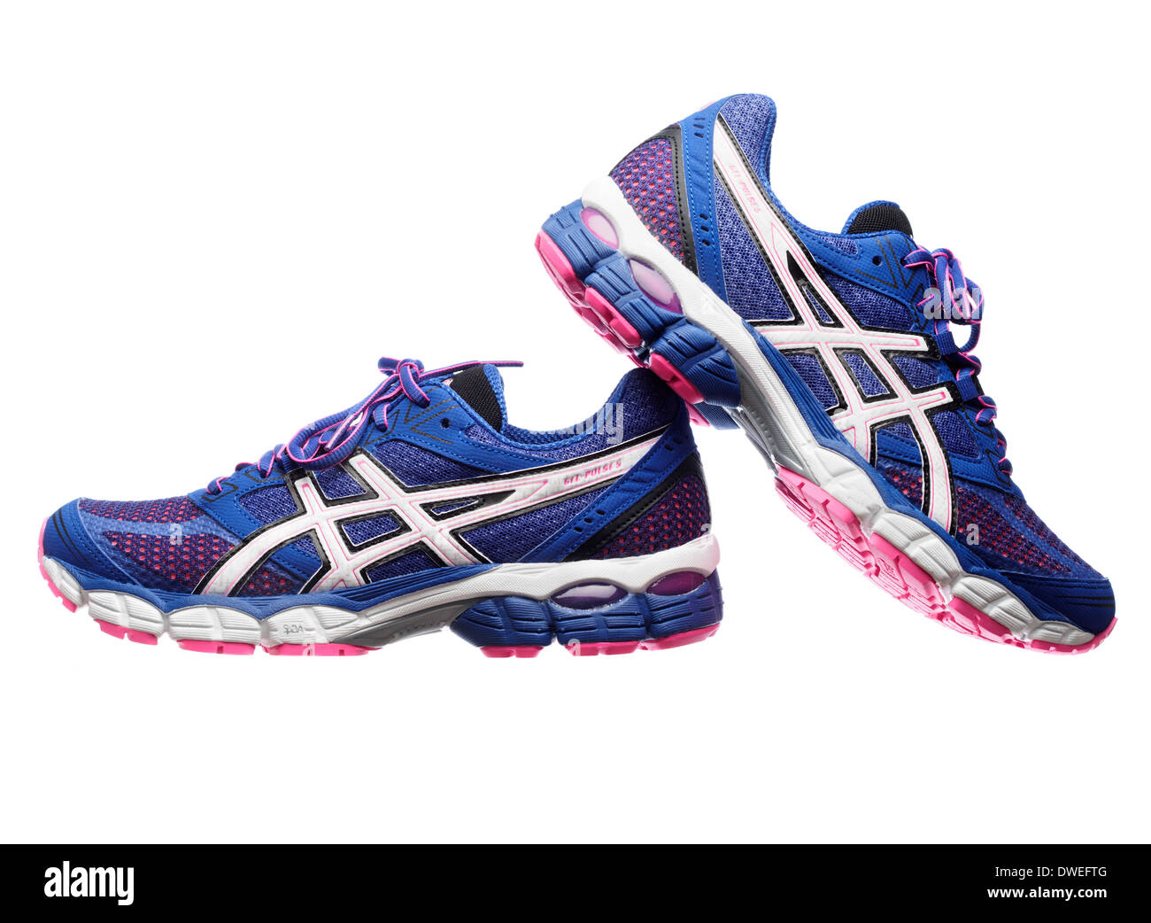 Royaume-Uni disponibilité c11fb c84cb Blue and pink Asics Gel Pulse 5 running shoes Stock Photo ...