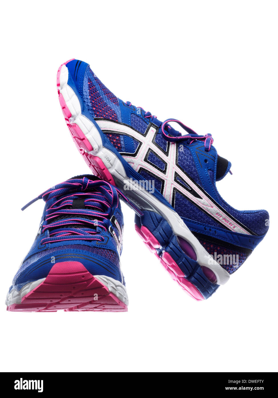 Blue and pink Asics Gel Pulse 5 running shoes Stock Photo